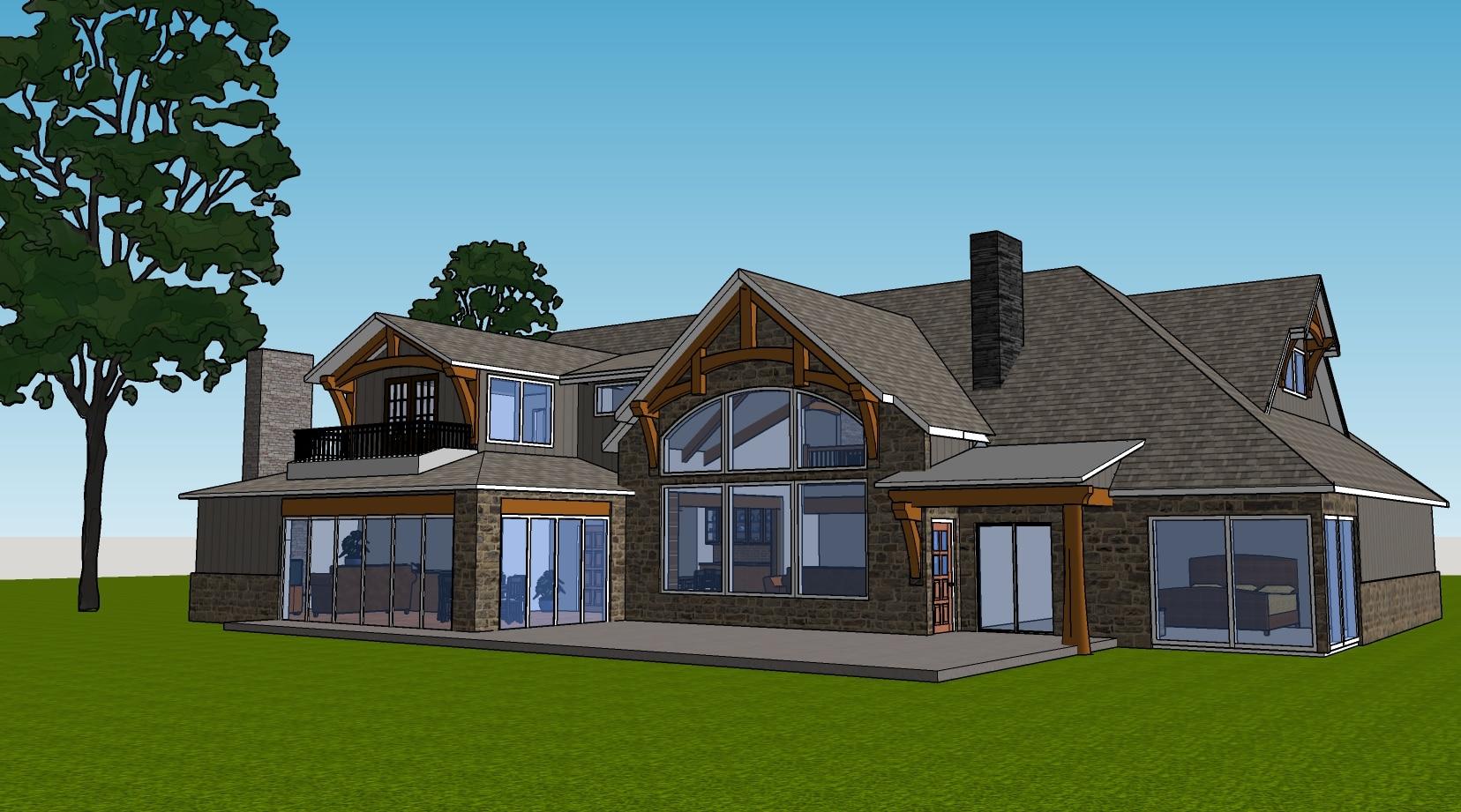 Rustic Natural Timber House Plan
