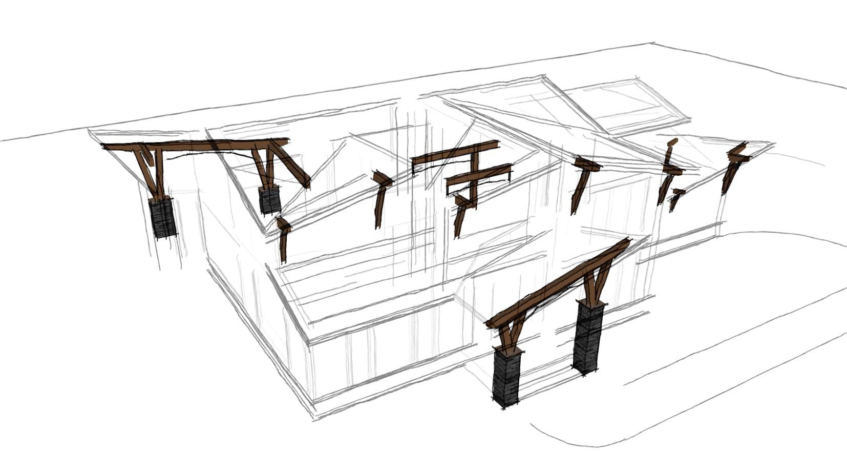hybrid timber framing example sketch plan