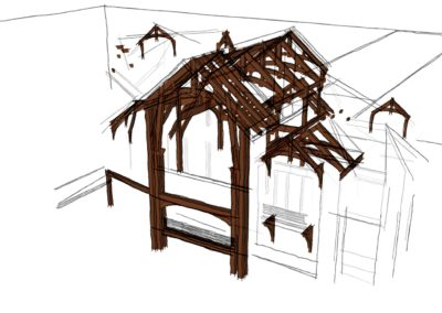 rustic timber frame house sketchup 3d