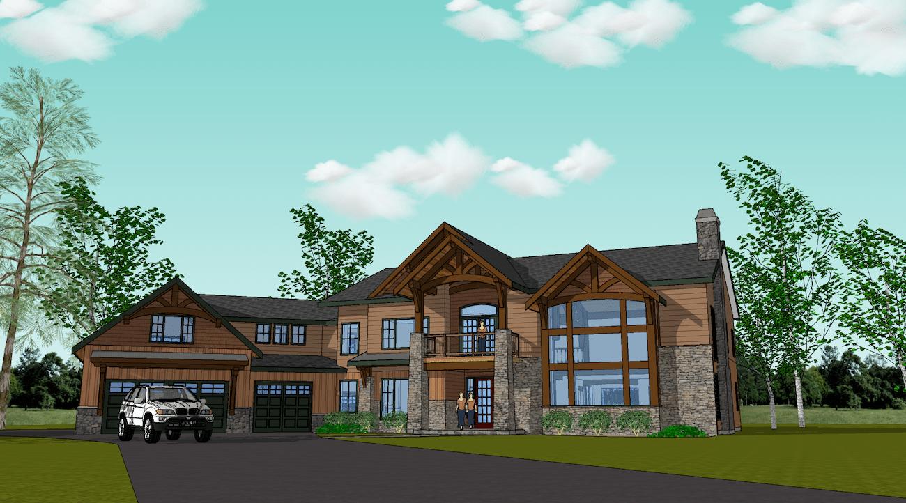 A Hybrid Timber Frame House Plan